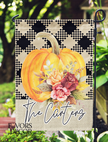 Pumpkin and Autumn Leaves Personalized Garden Flag