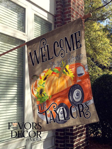 Orange Truck Loaded with Pumpkins Personalized House Flag