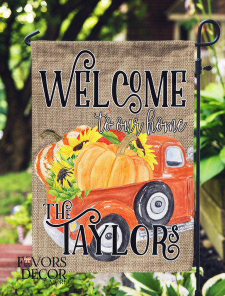 Orange Truck Loaded with Pumpkins Personalized Garden Flag