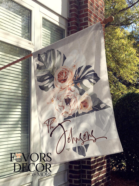 Earthy Tone Flower Personalized House Flag