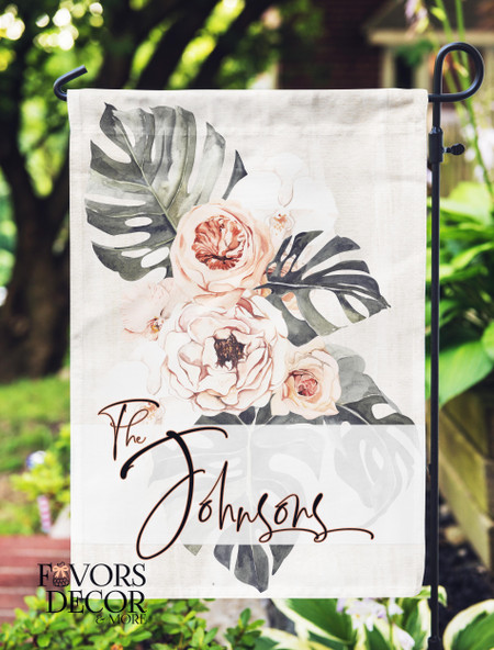 Earthy Tones Flower Personalized Garden Flag