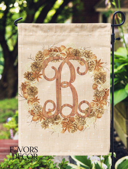 Personalized Garden Flag with Pine cone Wreath and Wood Monogram