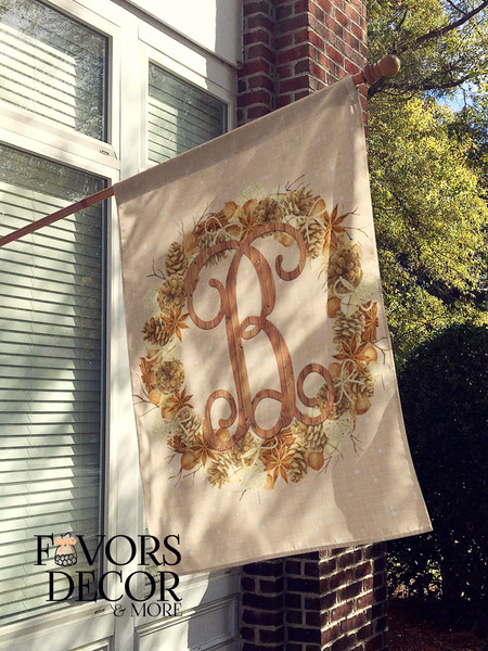 Personalized House Flag with Pine cone Wreath and Wood Monogram