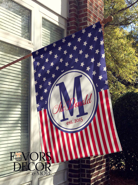 Stars and Stripes Personalized House Flag - Favors, Decor and More