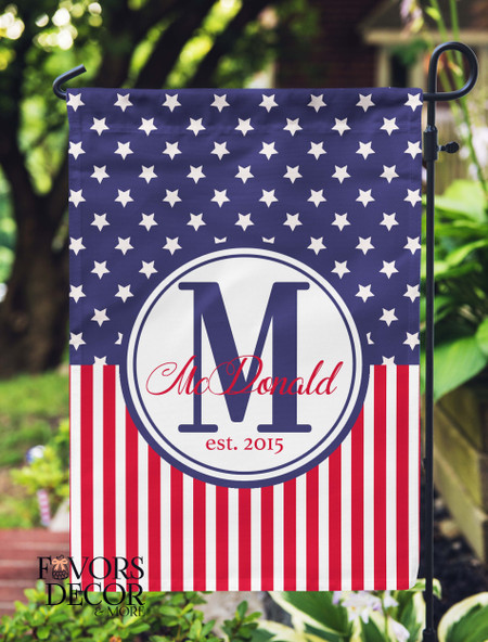 Stars and Stripes Personalized Yard Flag