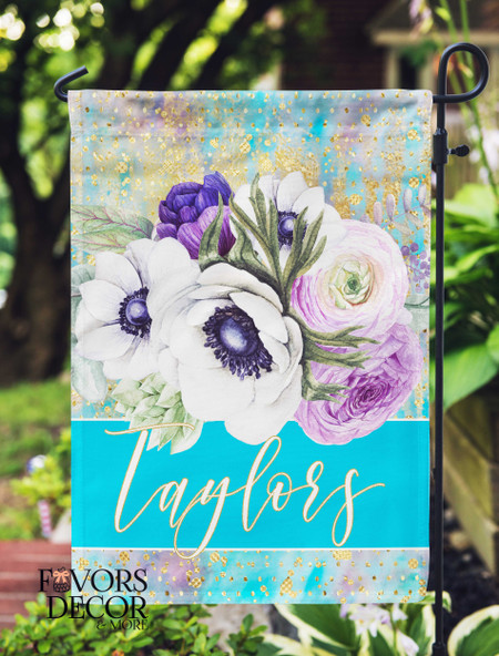 Personalized Purple Floral Garden Flag