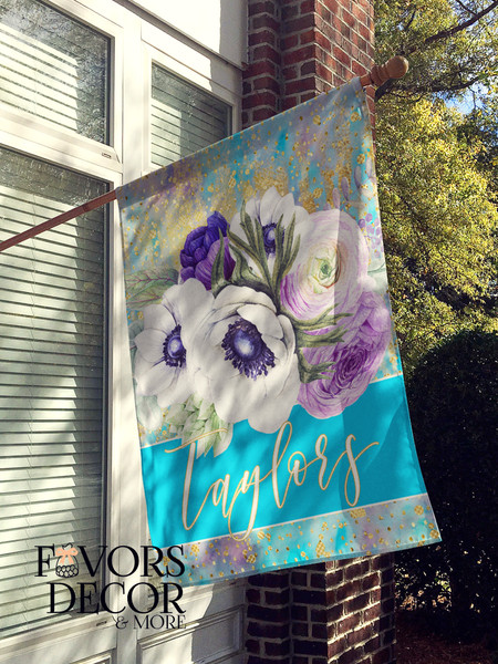 Personalized Purple Floral House Flag