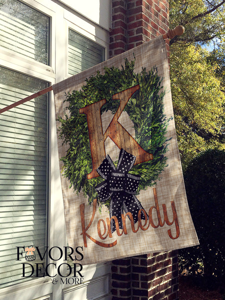 Boxwood and Wood Name Personalized House Flag