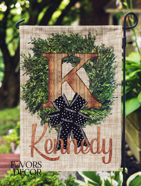 Boxwood and Wood Name Personalized Garden Flag