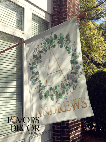 Eucalyptus Wreath Personalized House Flag