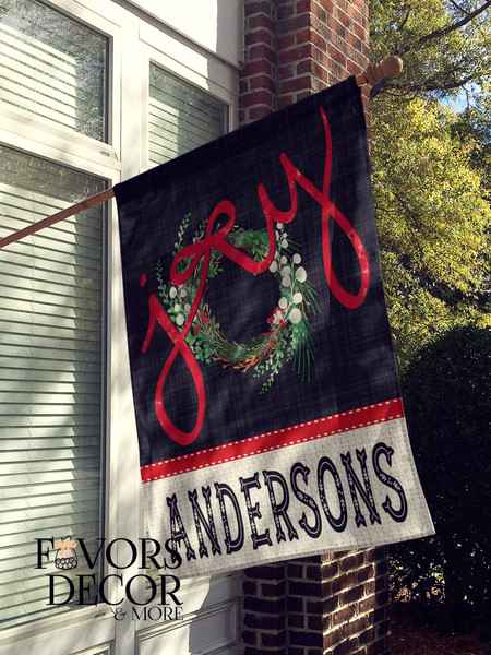 Christmas Wreath Joy Personalized House Flag