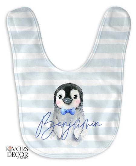 Personalized Penguin Baby Boy Bib Blue Stripes