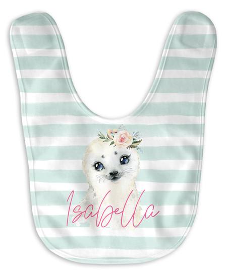 Personalized Baby Girl Seal Bib