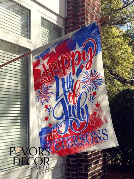 Happy 4th of July Personalized House Flag
