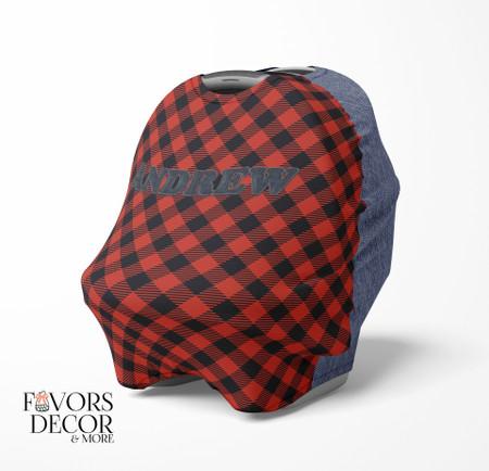 Lumberjack and Denim Print Personalized Car Seat Cover