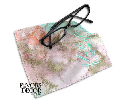 Personalized Pink Marble Print Glasses Microfiber Cleaning Cloth