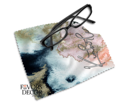 Personalized Black Marble Print Glasses Microfiber Cleaning Cloth