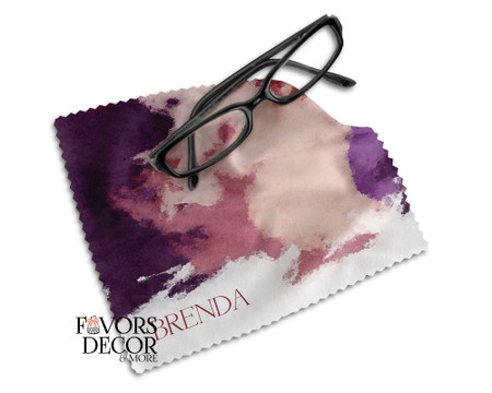 Personalized Watercolor Print Glasses Microfiber Cleaning Cloth - Wine