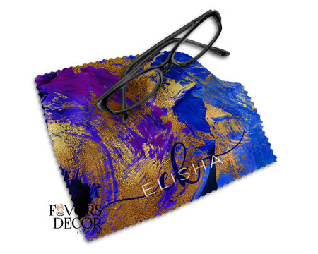 Personalized Glasses Microfiber Cleaning Cloth Metallic Paint Design