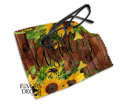 Personalized Sunflowers Print Glasses Microfiber Cleaning Cloth