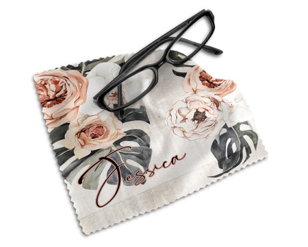 Personalized Earth Tones Chic Design with Roses and Palm Leaves Lens Cleaning Cloth