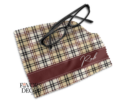 Beige Plaid Pattern Lens Cleaning Cloth