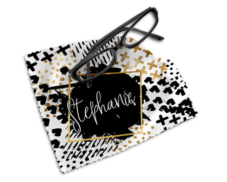 Personalized Glasses Microfiber Cleaning Cloth Black and Gold Abstract Design