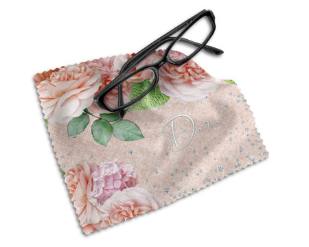 Personalized Lens Cloth with Floral Bouquet and Diamonds