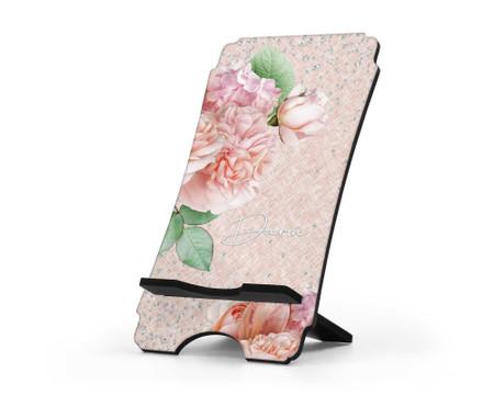 Personalized Phone Holder - Rhinestones Floral