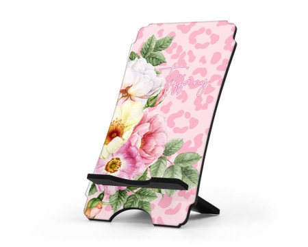 Personalized Cell Phone Stand - Floral Design