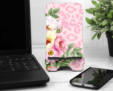 Animal Print and Floral Personalized Cell Phone Stand