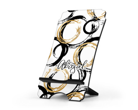 Personalized Cell Phone Stand - Black and Gold Abstract Design