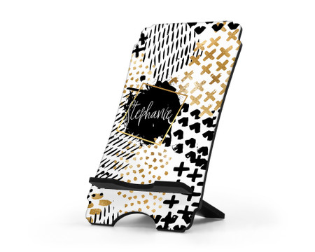 Black and Gold Personalized Cell Phone Stand