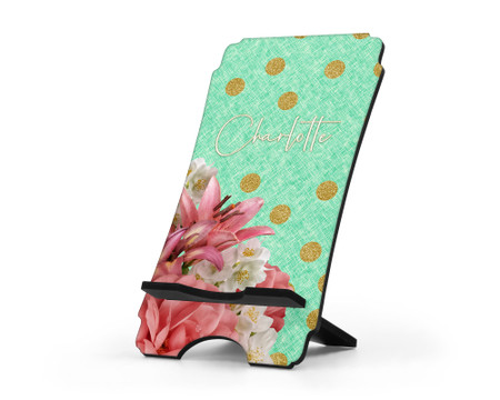 Floral and Gold Glitter Dots Personalized Cell Phone Stand