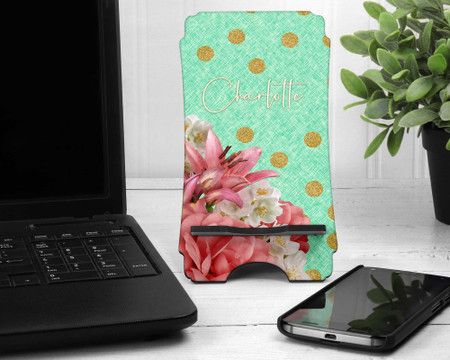 Custom Cell Phone Holder with Floral Print