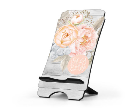 Peach Peonies Personalized Cell Phone Stand