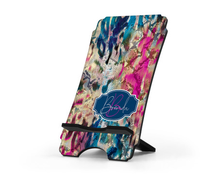 Reptile Skin Personalized Cell Phone Stand - Blue
