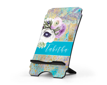 Purple Peonies Flower Personalized Cell Phone Stand