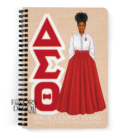 Personalized Delta Sigma Theta Red Skirt Notebook with Lady