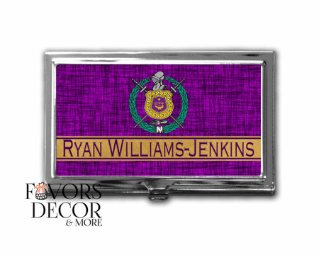Personalized Omega Psi Phi Business Card Holder