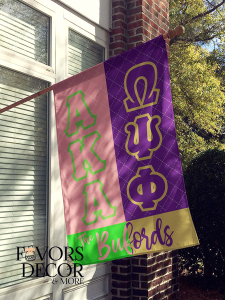 Omega Psi Phi and Alpha Kappa Alpha Family House Flag