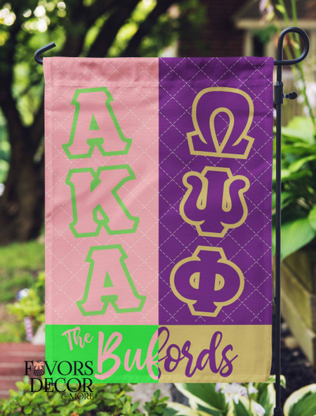 Omega Psi Phi and Alpha Kappa Alpha Family Garden Flag