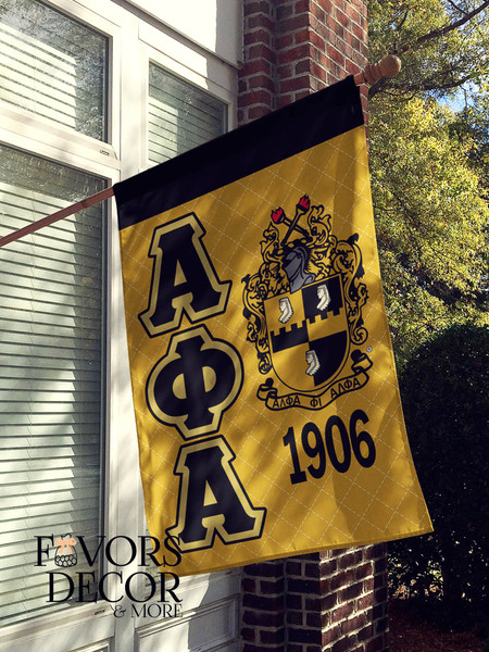 Alpha Phi Alpha Black and Gold House Flag