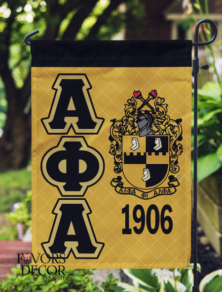 Alpha Phi Alpha Black and Gold Garden Flag