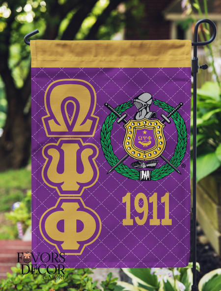 Omega Psi Phi Purple and Gold Flag