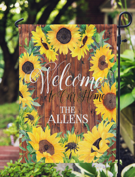 Personalized Garden Flag with Sunflowers Design