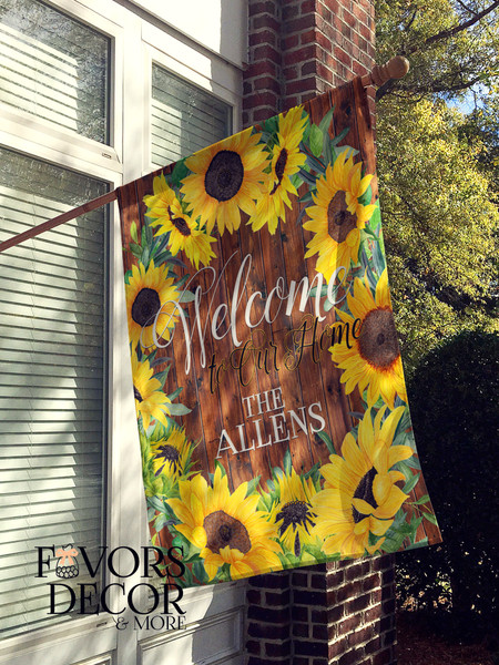 Personalized House Flag with Sunflowers Design