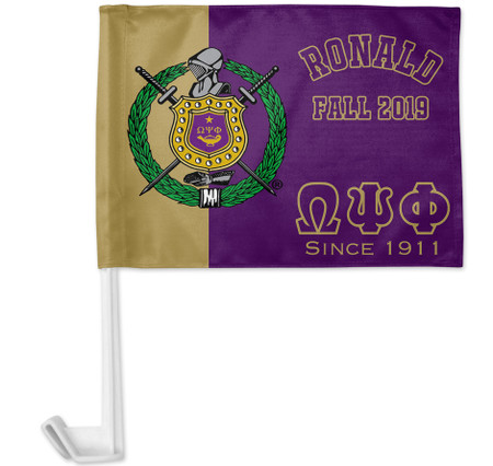 Purple and Gold Omega Psi Phi Personalized Car Flag