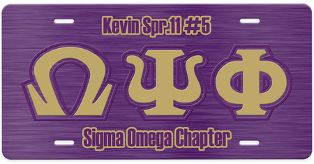 Omega Psi Phi Personalized License Plate