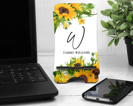 Sunflowers Print Personalized Cell Phone Stand Holder